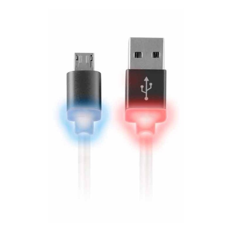 Cable Datos Micro USB Negro con Led
