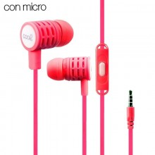 Auriculares 3,5 mm COOL Extra Bass Stereo Con Micro Coral